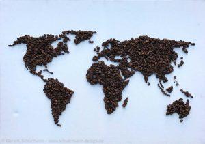 Weltkarte Kaffee auf Leinwand